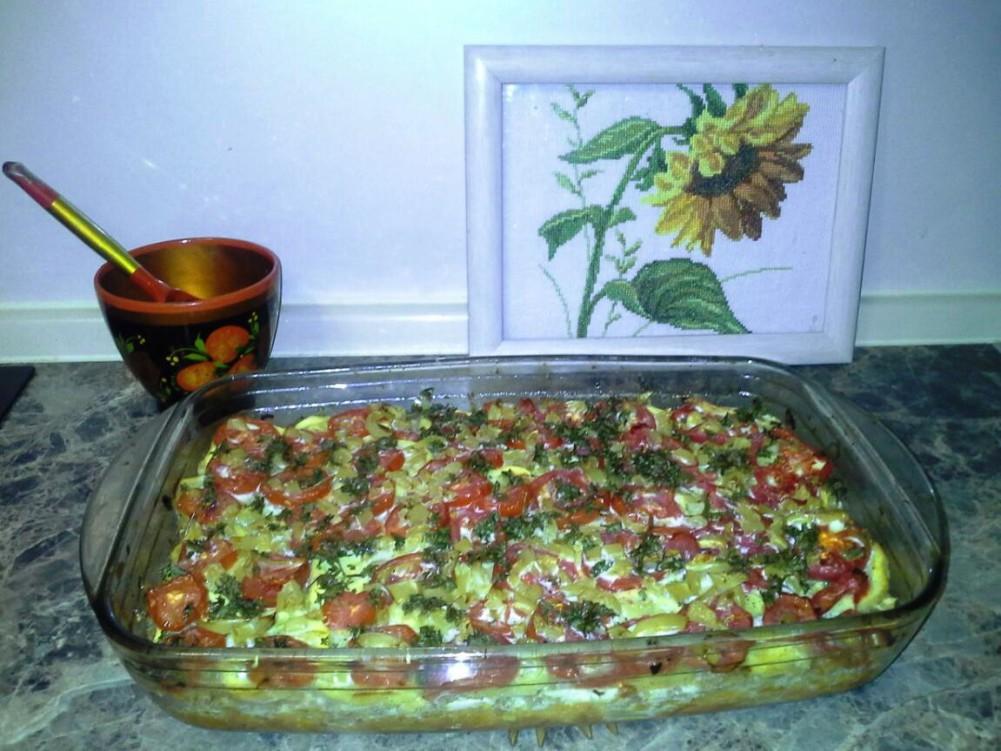 фото, запеканка из помидор, кабачков с сыром