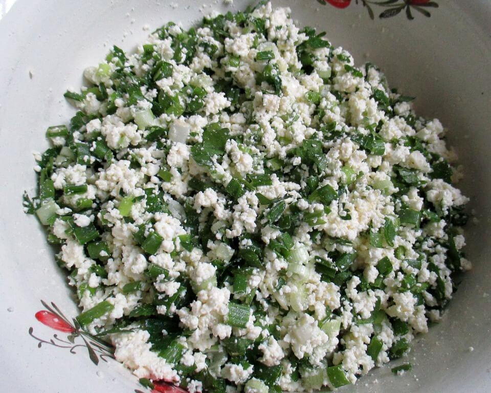 фото начинка из творога и зелени для лепешек