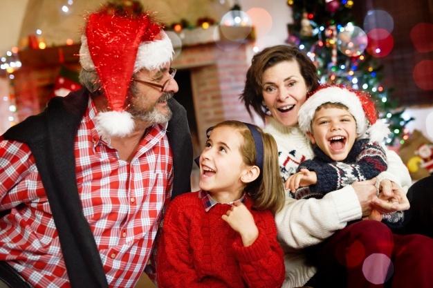 фото, праздник Новый год, дети, бабушка, дедушка