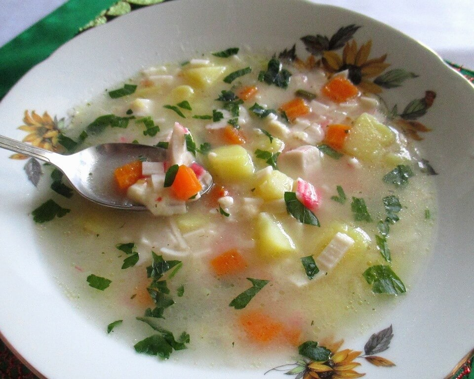суп с сыром фото, суп с крабовыми палочками фото